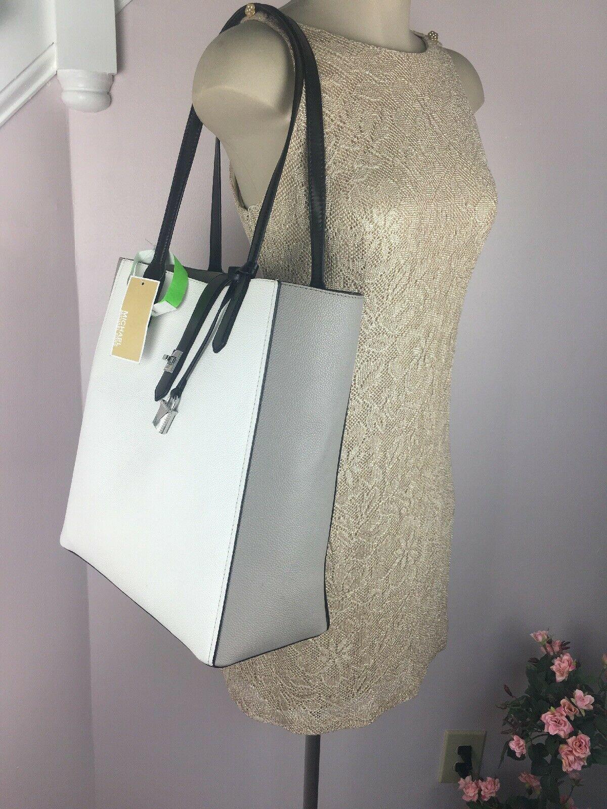 Michael Kors Bag Cassie Tote Medium NS Tote Leather White Gray Black B2R image 4