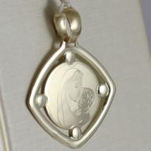 Pendant Yellow Gold Medal 375 9k, Maria Jesus, Diamond, Satin, Made in Italy image 2