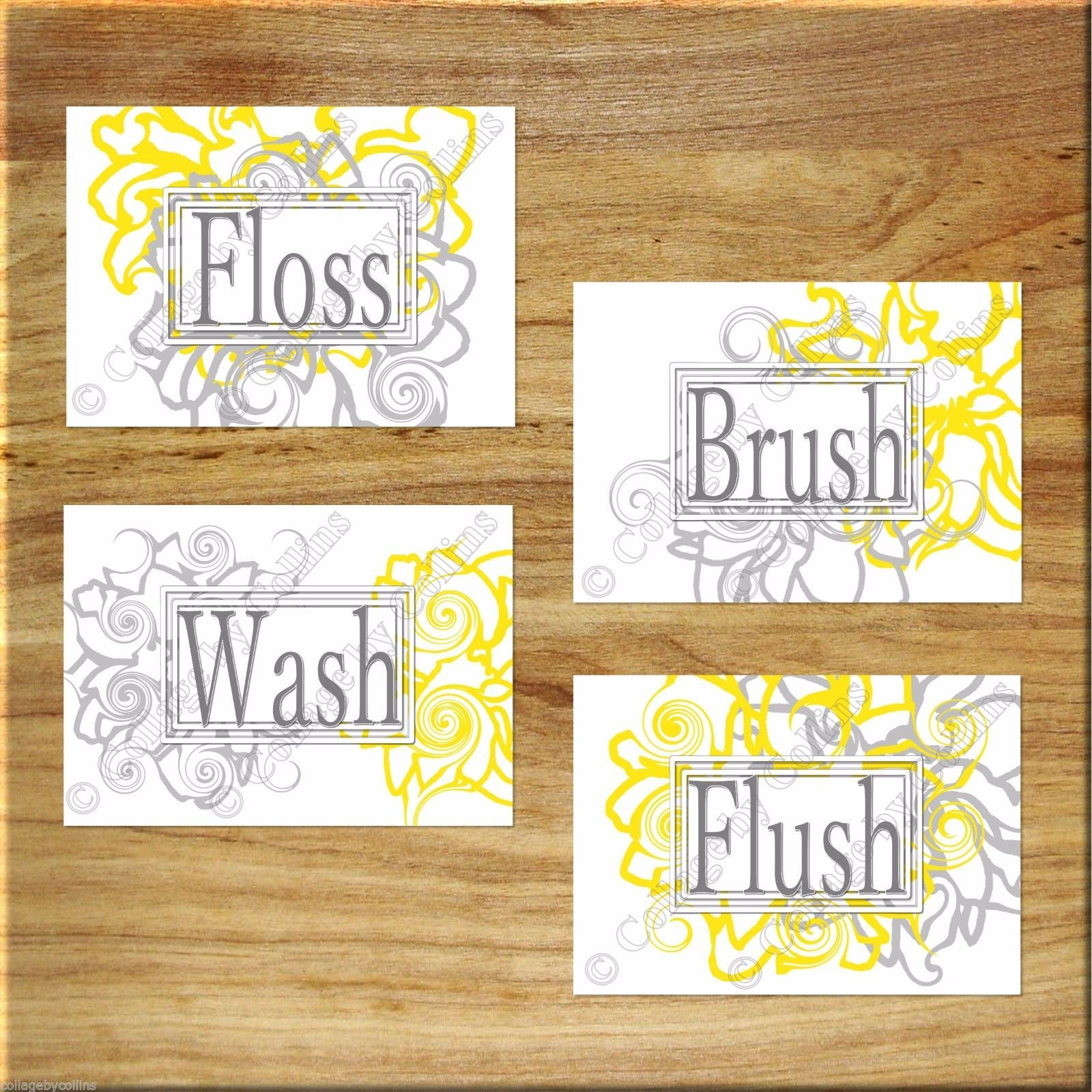 Primary image for Gray + Yellow Floral Bathroom Wall Art Prints Bath Decor Floss Wash Brush Flush