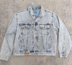 Womens Vintage Jean Jacket Stonewashed Acid Washed Size Large - $26.21