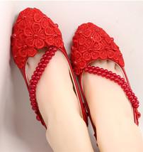 Wedding shoes Blush lace princess shoes red wedding flat UK Size 2,3,4,5... - $38.00