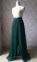 Dark Green Split Maxi Skirt Dark Green Bridesmaid Tutu Skirt with Split (US0-30) image 3