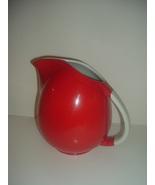 Hall China USA Red w White Handle Big Pert Pitcher or Jug  - $49.99