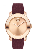BRAND NEW MOVADO BOLD 3600447 ROSE GOLD DIAL BURGUNDY SUEDE BAND WOMEN'S... - $287.09