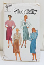1985 SIMPLICITY Vtg Sewing Pattern 7099 Blouse Shirt Top Wrap Skirt Size 16 / 44 - $24.66