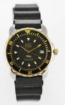 ESQ Watch Mens Date Stainless Gold Silver Water Resist 100m Rubber Black... - £50.37 GBP