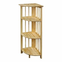 Yu Shan 4 Shelf Corner Bookcase, Natural