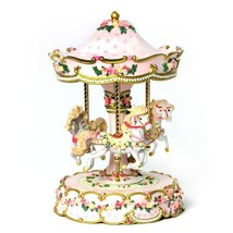 The San Francisco Music Box Company Hearts and Roses 3-Horse Carousel - $133.97