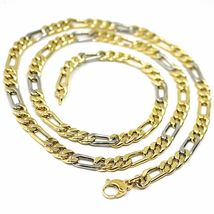 """18K YELLOW WHITE GOLD CHAIN BIG 6 MM ROUNDED FIGARO GOURMETTE ALTERNATE 3+1, 24"""" image 3"""