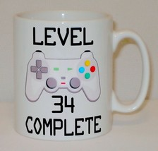 Level 34 Complete 34th Birthday Mug Can Personalise Video Game Retro Gam... - $9.78