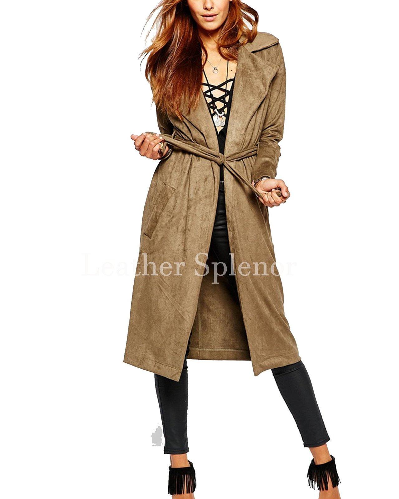 Tie Up Waist Women Suede Leather Coat