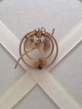 Vintage Circle Gold Tone Leaf Crystal Rhinestone Wreath Brooch - $15.00