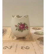 Vintage Egg Shaped Vase Cracked rim Floral DesIgn Shabby Chic Cottage  - $0.00