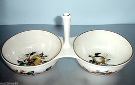 Lenox Winter Greetings Condiment Server 2 Section w/Center Handle Bird Motif New - $24.90