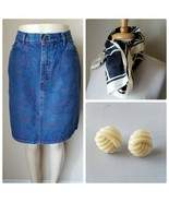 Lee Vintage Women's Denim Skirt Jean Medium Wash Paint Floral 13 + Earrings - $25.10