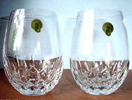 Waterford Lismore Nouveau Stemless 2 PC Deep Red Wine Glass Set #136879 ... - $95.90