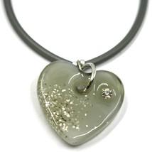 Bracelet Rubber and Steel Antica Murrina Venezia, BR096M12, Heart Glass Gray image 2