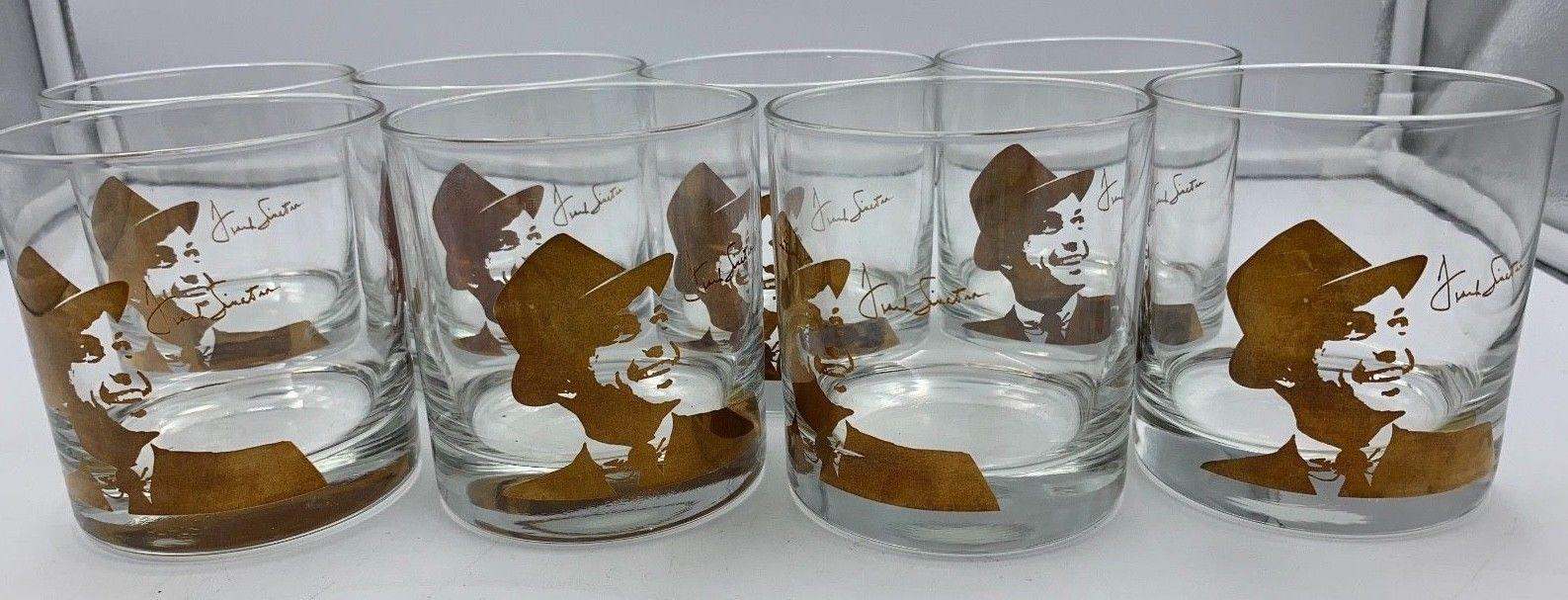 Frank Sinatra 18k gold applied low ball rock glasses - glassware x 8 MCM EUC