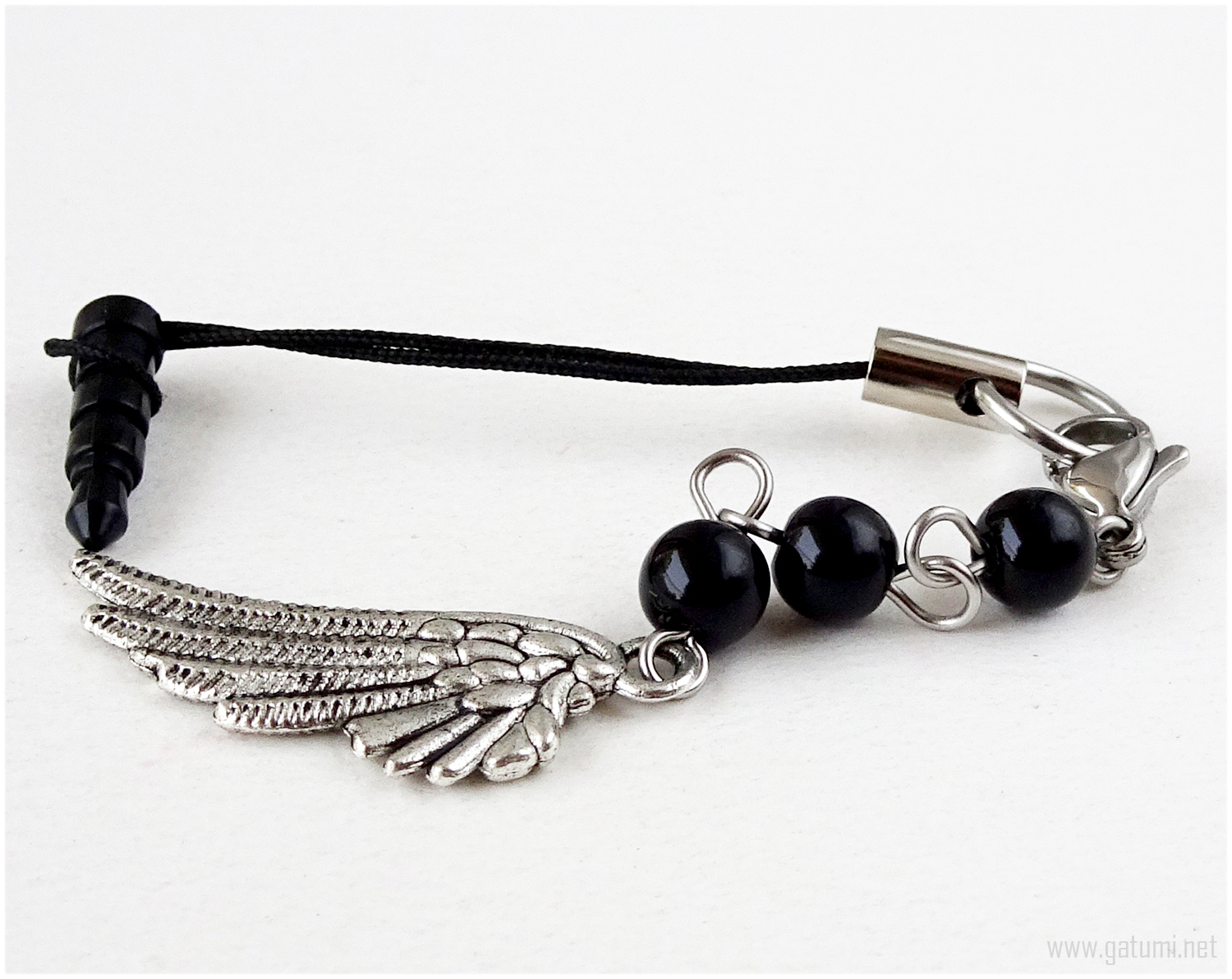 Angel Wing Phone Charm, Handmade, Gothic Lolita, Gothic Accessories, Goth
