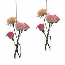 Ivolador 2 PCS Cylinder Hanging Glass Flower Planter Vase Terrarium Cont... - $16.91