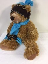 "Mary Meyer Plush St. Jude Oliver Bear 16"" Stuffed Animal in Blue Knit Hat Scarf image 4"
