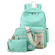 Samaz 3-in-1 Cute Korean Lace Canvas School Backpack for Teen Girls - $29.99