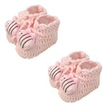 Pink Bee Woolen Yarn Baby Newborn Shocks Infant Toddler Shoes 2 Pack 0-6M image 2