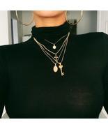 Bohemian Female Necklace Letter Cross Lock Key Pendant Gold Necklace Set... - $9.85