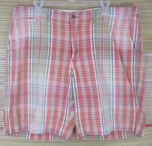 RALPH LAUREN POLO Men SHORTS sz 38 waist plaid flat salmon pink green cotton - $22.53