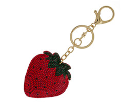 Strawberry Bling Faux Suede Stuffed Pillow Key Chain Handbag Charm - $12.95