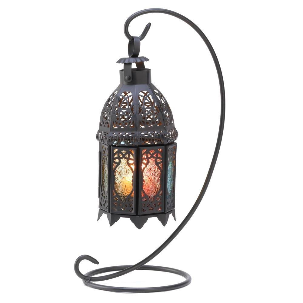 Standing Lantern, Rainbow Moroccan Glass Iron Outdoor Candle Lantern With Stand