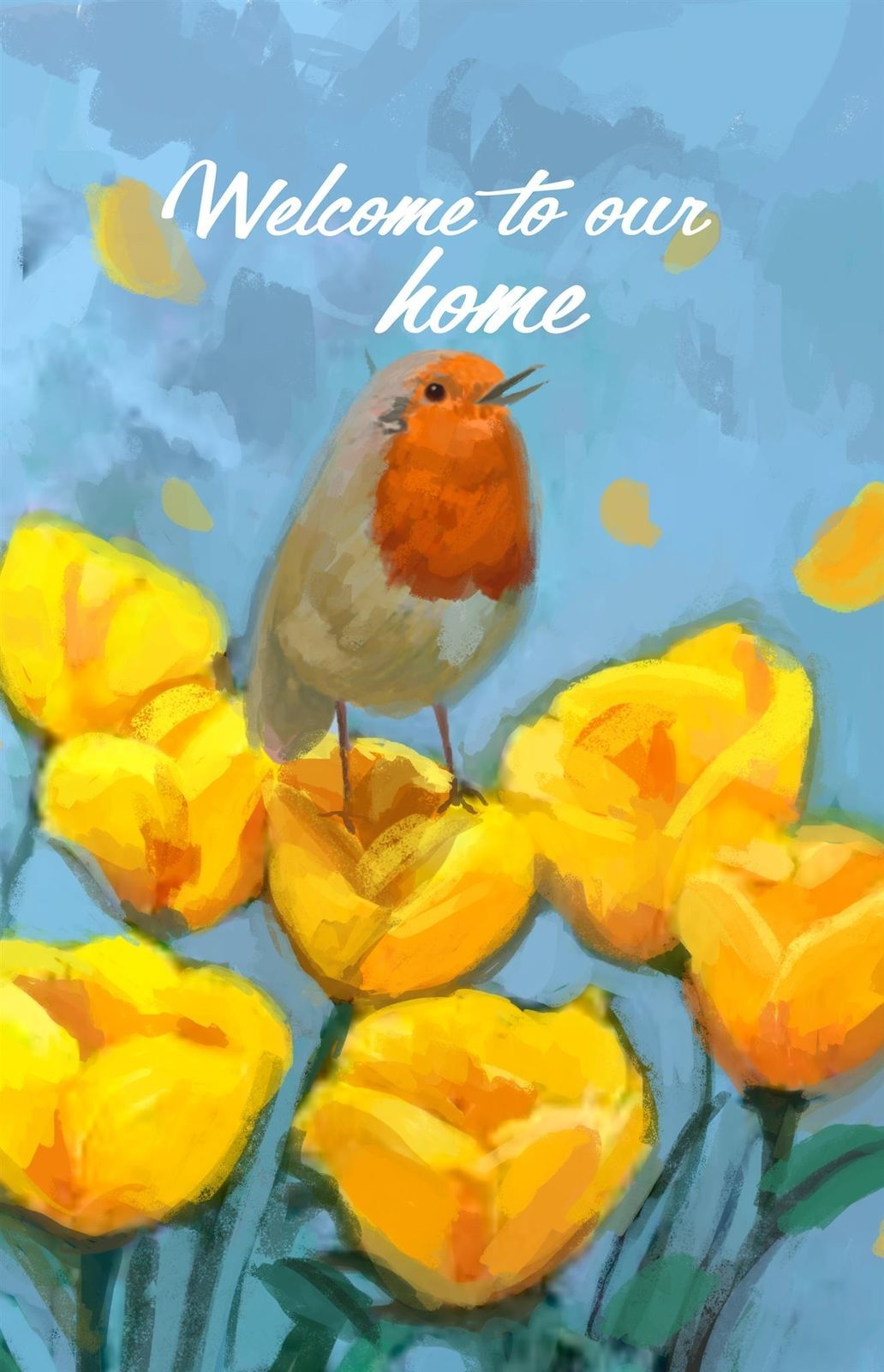 Welcome To Our Home Double Sided Garden Flag Emotes Bird & Flowers Banner Decor - $10.99