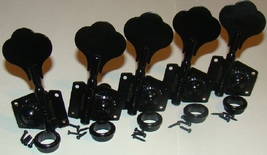 Vintage Style Tuners, Black, For Five String Bass Guitar, 4 Right & 1 Left - $49.95
