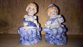 Vintage Blue and White Boy and Girl Figurine Made in China - $12.87