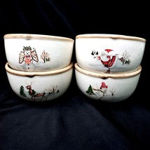 American Atelier CHRISTMAS TWIGS 4 Berry Cereal Dessert Bowls - $19.88