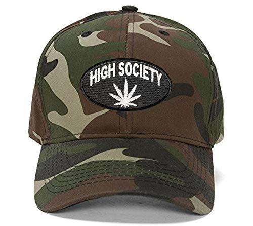 High Society Hat - Adjustable Cap (Camo) Marijuana Cannabis Pot Leaf
