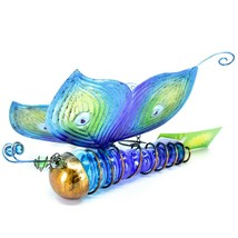 Painted Metal & Glass Solar Powered Light Garden Decoration Butterfly Decor