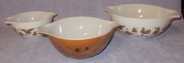 Pyrex Ovenware Three Nesting Bowl Set Cinderella Style Early American Pattern - $39.00