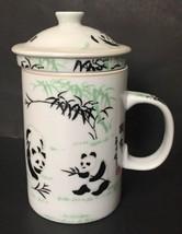 Panda Bear Tea Infuser Mug Tall Cup Leaf Strainer Lid White Black Green image 1