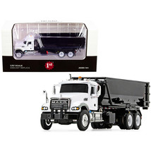 Mack Granite with Tub-Style Roll-Off Container Dump Truck White and Black 1/8... - $65.41