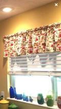 "Summer Vintage Retro Dishes Curtain Valance Window  Cotton fabric 43""W x... - $8.70"