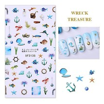 Nail Art 3D Decal Stickers 3D Self Adhesive Tropical Holidays XF3135 - $3.19