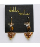 Dabby Reid Andrea Drop Earrings Tiger's Eye Quartz Swarovski Crystals PM... - $14.84