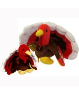 Gobbles The Turkey Ty Beanie Baby and Buddy Set Retired MWMT Collectible - $32.62