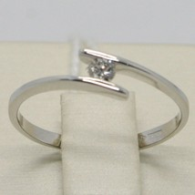 White Gold Ring 750 18K, Solitaire with Diamond Carat 0.08, Rail, Italy image 2