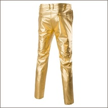 Men's Casual Gold Stage Performers PU Leather Front Zip Straight Slim Trousers  image 2