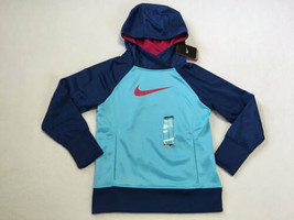 NEW Nike Girls M 3.0 KO Aqua Blue Hoodie Raspberry Pink Swoosh Therma Fit - $26.99