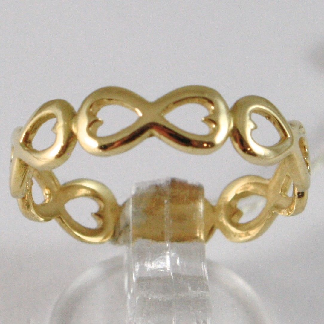 YELLOW GOLD RING 750 18K, ROW OF SYMBOLS INFINITY, MADE IN ITALY