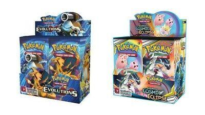 Pokemon TCG Sun & Moon Cosmic Eclipse + Evolutions Booster Box Bundle