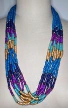 VTG Gold Tone Multi-Strand Blue Purple Wood Bead Long Necklace - $29.70